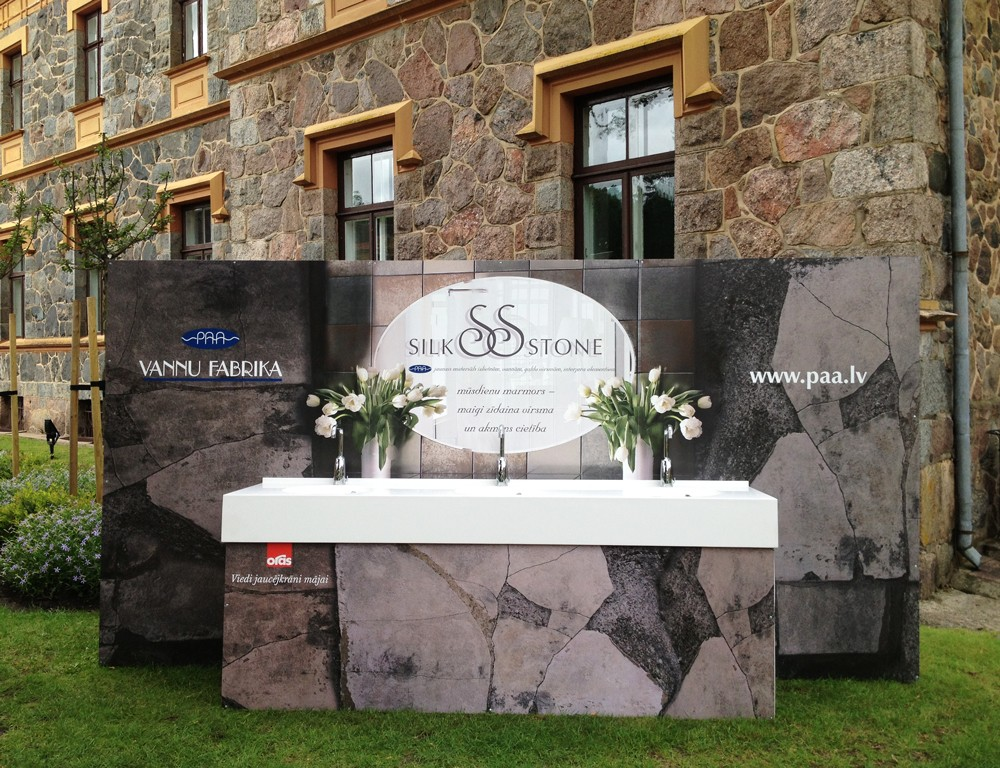 PAA exhibits washbasins in the new material SILKSTONE at Opera festival in Sigulda