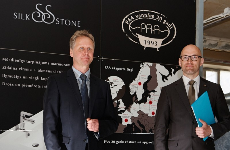 The presentation of SILKSTONE material in PAA factory was attended by Minister of Economics of Latvia, Mr. Daniels Pavluts