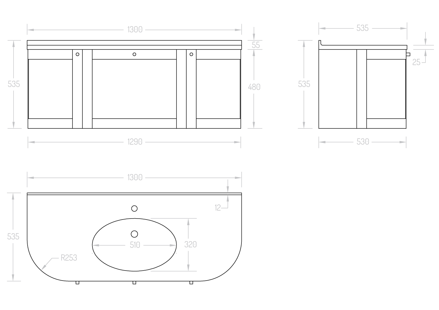 OVO SILK 1300 cabinet drawing