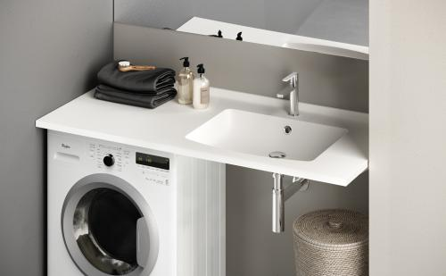 Piano-1200x600x25 washbasin and surface above washing machine design example