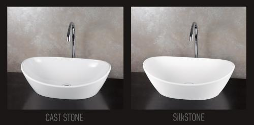 Visual compare of the same Amore bathtub in 2 materials - Cast Stone and SilkSTONE