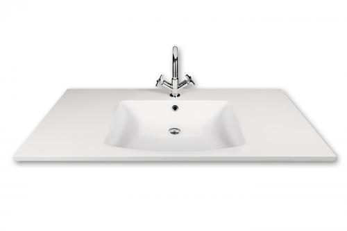Made to Measure Piano 1200x600x25 washbasin with surface design example (bowl centered) - front view