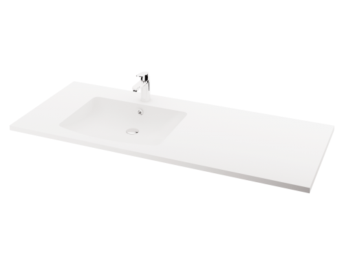 MODO Piano 1500x600x25 washbasin with surface design example (bowl on left side)