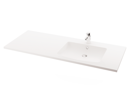 Piano 1500x600x25 washbasin with surface design example (bowl on right side)