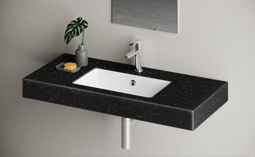 PAA Silkstone Made to Measure washbasin OPus 1000x450x100mm duo colour solution: Matte Night / Matte White
