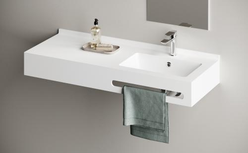 PAA Silkstone Made to MEasure washbasin OPUS 1200x450x150 with back wall rim and towel holder