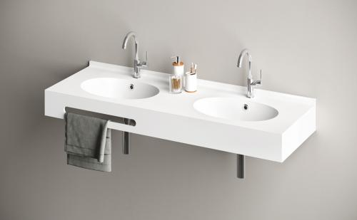 PAA Silkstone washbasin OVO DUO 1400x500x150 with back wall rim and towel holder