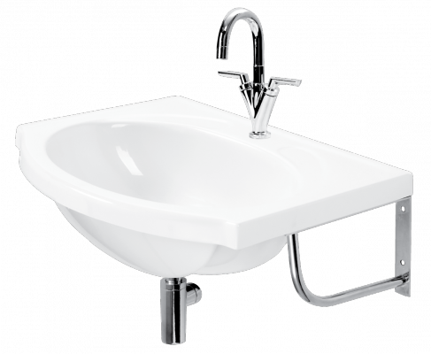 PAA cast stone washbasin Delta with anglet stainless steel brackets