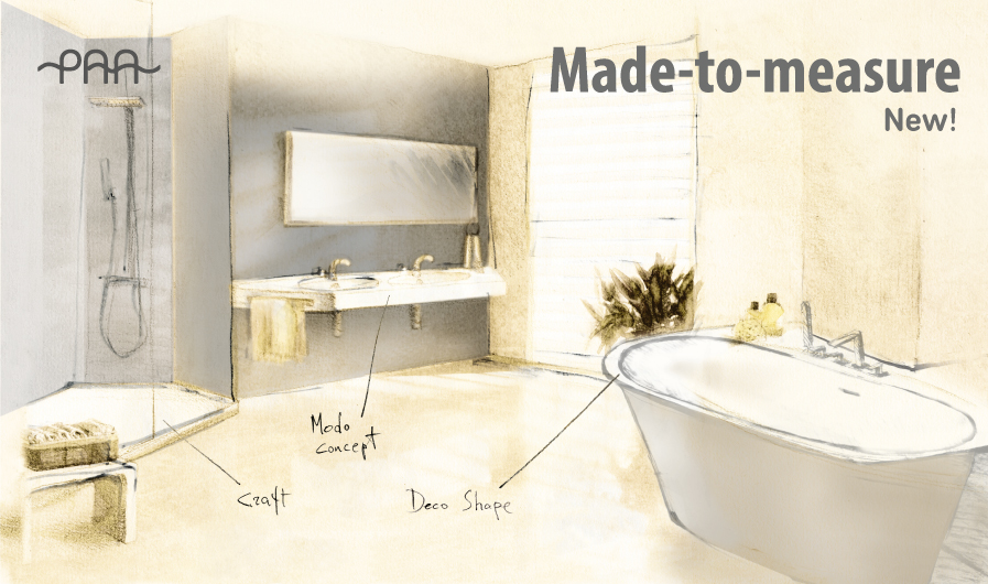 Discover new potential of your bathroom! Click here to see the new made-to-measure concept, such as DECO SHAPE baths, MODO washbasins and CRAFT shower trays