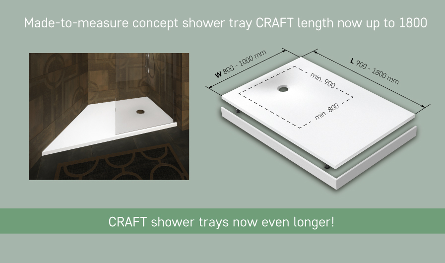 PAA cast stone CRAFT shower trays now even longer!